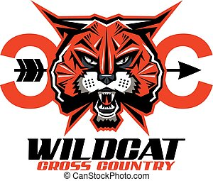 wildcat cross country team design with mascot for school,...