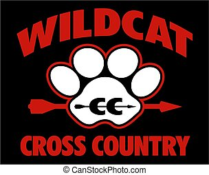 wildcat cross country team design with large paw print and ...