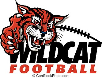wildcat football design with mascot and claw