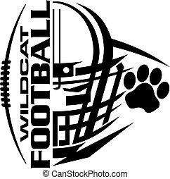 wildcat football team design with helmet and paw print for school, college or league