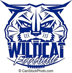 wildcat football team design with mascot and laces for school, college or league
