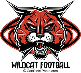 wildcat football team design with mascot head inside ...