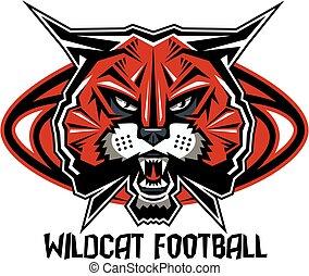 wildcat football team design with mascot head inside...