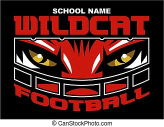 wildcat football team design with mascot wearing facemask for school, college or league