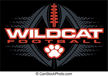 wildcat football team design with paw print and ball for...