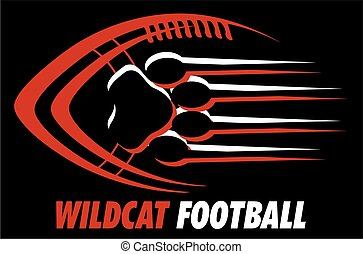 wildcat football team design with paw print for school, ...