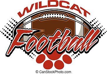 wildcat football design with ball and paw print