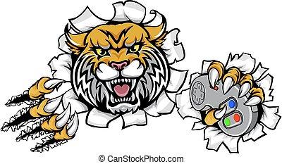 Wildcat Gamer Bobcat Esports Mascot