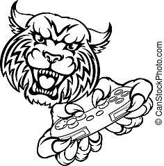 wildcat, gamer, mascote