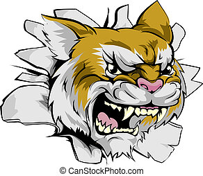 Wildcat sports mascot breakthrough concept of a wildcat sports mascot or character breaking out of the background or wall