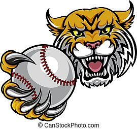 Wildcat Holding Baseball Ball Mascot