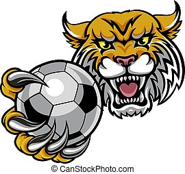Wildcat Holding Soccer Football Ball Mascot