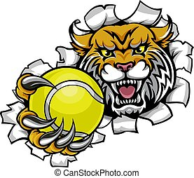 Wildcat Holding Tennis Ball Breaking Background