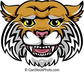 Wildcat Mascot Cute Happy Cartoon Character