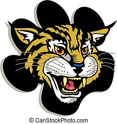 wildcat mascot head inside a paw print