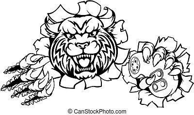 Wildcat or Bobcat Esports Gamer Mascot