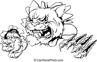 A wildcat or cougar sports mascot ripping through the background