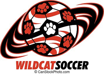 wildcat soccer team design with paw prints for school,...
