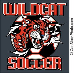 wildcat soccer team design with mascot ripping out of ball...