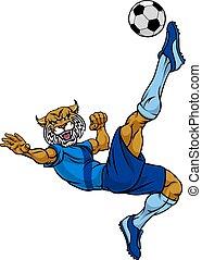 Wildcat Soccer Football Player Sports Mascot