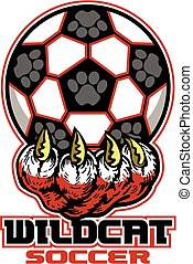 wildcat soccer team design with large claw holding ball for...