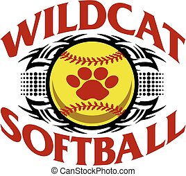 wildcat softball - tribal wildcat softball team design with...