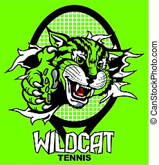 wildcat tennis with mascot ripping through racquet for...