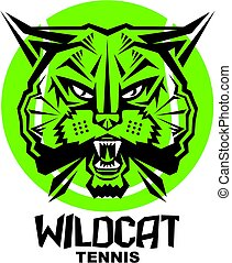 wildcat tennis team design with mascot head inside ball for...