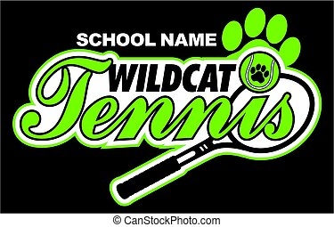 wildcat tennis team design with paw print for school, ...