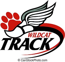wildcat track team design with track foot and paw print for school, college or league