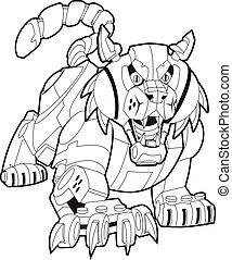 wildcat, vector, o, robot, bobcat, mecánico, ilustración, mascota