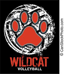 wildcat volleyball - distressed wildcat volleyball team...