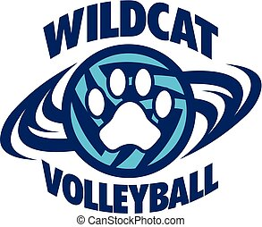 wildcat volleyball team design with paw print for school, ...