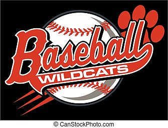 wildcats baseball team design in script with paw print for...