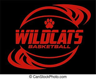 wildcats basketball team design with ball and paw print for ...