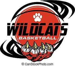 wildcats basketball team design with paw print inside ball ...