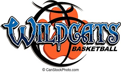 wildcats basketball team design with paw print inside large...