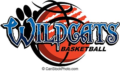 wildcats basketball team design with ripped ball and paw...