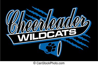 wildcats cheerleader team design in script with tail for...