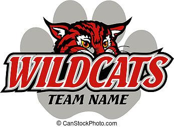 wildcats, design, maskottchen