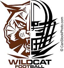 wildcats football team design with mascot and facemask for...