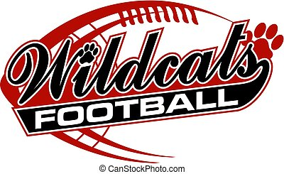 wildcats football team design in script with paw print for...
