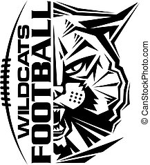 wildcats football team design with mascot and laces for ...