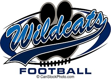 wildcats football team design with paw print inside ball for...
