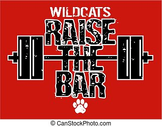 wildcats raise the bar weightlifting design with barbell for...