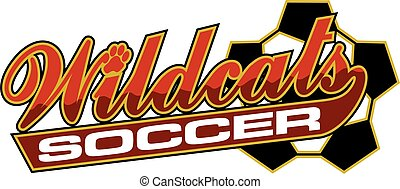 wildcats soccer team design in script with tail for school,...
