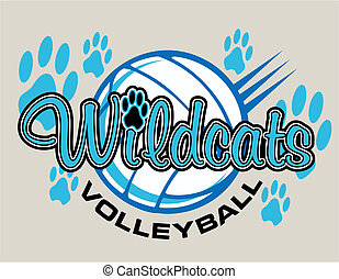 wildcats volleyball design with volleyball and paw prints