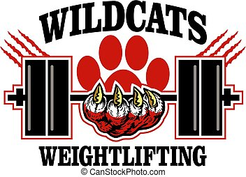 wildcats weightlifting team design with mascot paw holding...