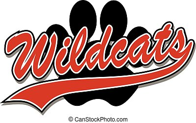 wildcats with paw print - wildcats team design in script...