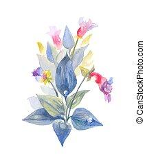wilde bloemen, na, leaves., regen, vrijstaand, water, achtergrond., struik, floral, witte , druppels, samenstelling, hand-drawn
